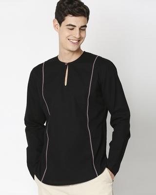Shop Black Men's Cotton Oxford Solid Short Kurta-Front