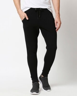 Shop Black Men's Plain Casual Jogger With Elastic at Ankle-Front