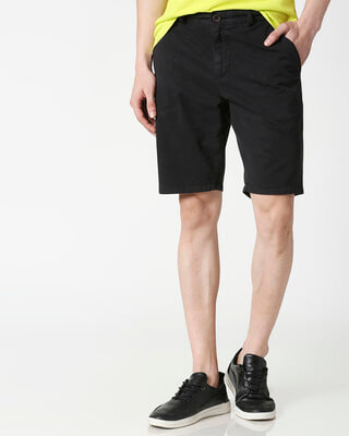 Shop Jet Black Chino Shorts-Front