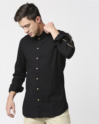 Shop Men's Solid Ethnic Tape Shirt-Front