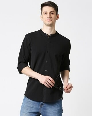 Shop Comfort Pique Knit Black Shirt-Front