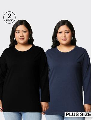 Shop Black-Navy Blue Full Sleeve Plus Size T-Shirt Combos-Front