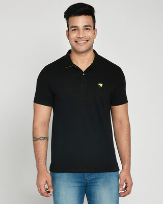 Shop Black-Neon Lime Contrast Collar Pique Polo T-Shirt-Front