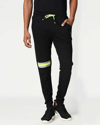 Shop Black-Neon Lime Reflector Joggers-Front