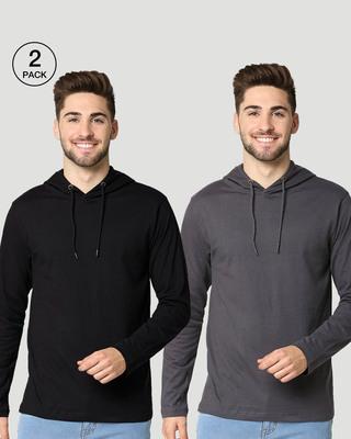 Shop Men's Plain Hoodie T-Shirt (Nimbus Grey & Black)-Front