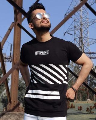 Shop Urban Estilo Black Off Spring Printed Half Sleeves T Shirt-Front