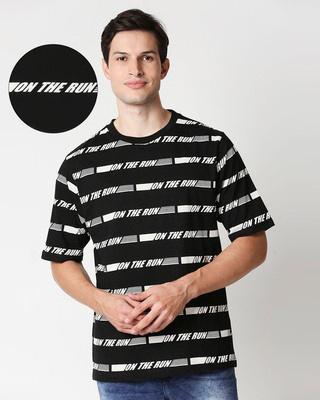 Shop Black On The Run AOP Half Sleeve T-Shirt-Front