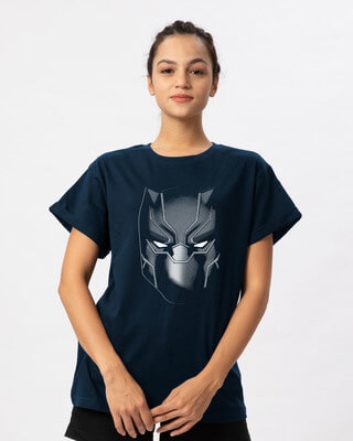 Shop Black Panther Face Boyfriend T-Shirt (AVL)-Front