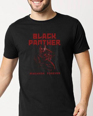 Shop Black Panther Red Half Sleeve T-Shirt (AVL)-Front