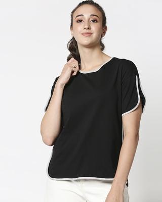 Shop Black-Quiet Grey Half Sleeves Tape T-Shirt-Front