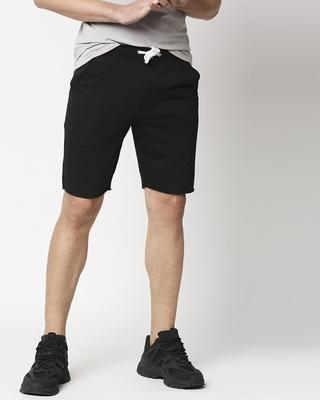 Shop Black Raw Hem Shorts-Front