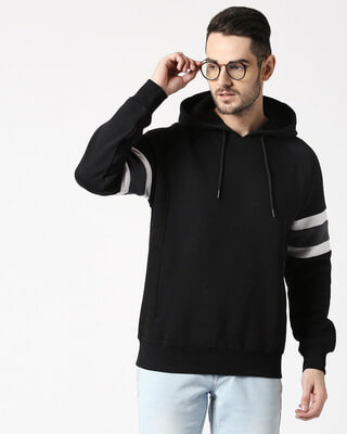 Shop Black Sports Trim Hoodie Sweatshirt-Front