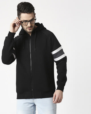 Shop Black Sports Trim Zipper Hoodie-Front