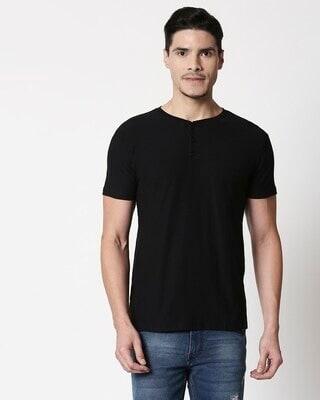 Shop Black Slub Half Sleeve Henley T-Shirt-Front