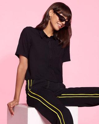 Shop Women's Solid Casual Black Shirt-Front