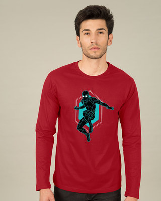 Shop Black Spidey Full Sleeve T-Shirt (FFHL)-Front