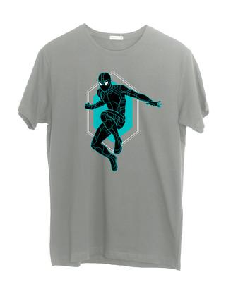 Shop Black Spidey Half Sleeve T-Shirt (FFHL)-Front