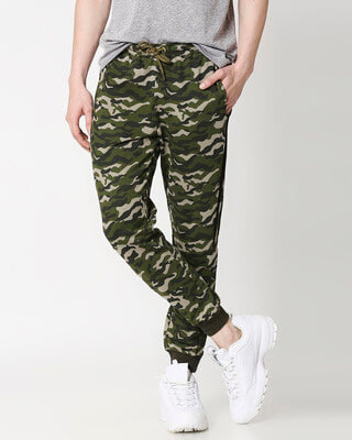 Shop Black Stripes Olive Camo Twin Stripes Casual Jogger Pants-Front