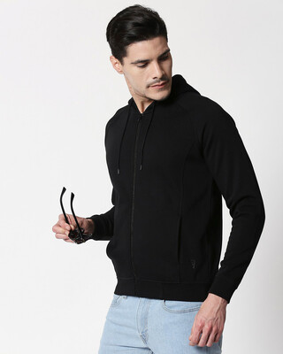 Shop Black Stylised Panel Zipper Hoodie-Front