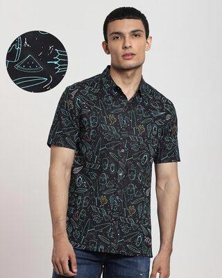 Shop Black Summar AOP Half Sleeve Shirt-Front