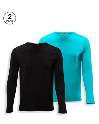 Shop Men's Full Sleeve Pack of 2 (Black & Tropical Blue)-Front