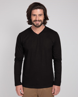 Shop Black V-Neck Full Sleeve T-Shirt-Front
