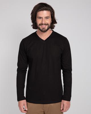 Shop Black V-Neck Full Sleeve T-Shirt-Front