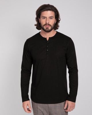 Shop Black V-Neck Henley T-Shirt-Front