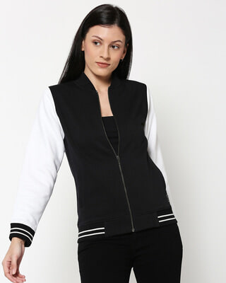 Shop Black Varsity Bomber Jacket-Front