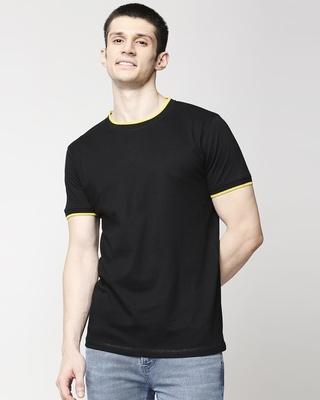 Shop Black Varsity Half Sleeve T-Shirt-Front