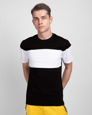 Shop Black White & Black 90's Vibe Panel T-Shirt-Front