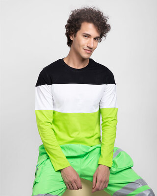 Shop Black-White & Neon Green 90's Vibe Panel T-Shirt-Front