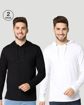 Shop Black-White Full Sleeve Hoodie T-Shirt-Front