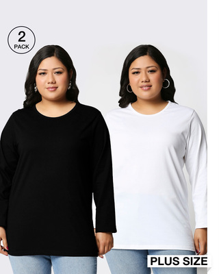 Shop Black-White Full Sleeve Plus Size T-Shirt Combos-Front