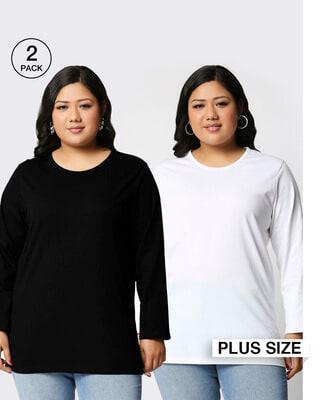 Shop Black-White Full Sleeve Plus Size T-Shirt Combos-Front
