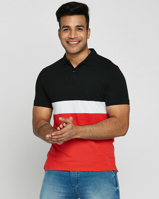 Shop Black-White-Imperial Red Triple Block Polo T-Shirt-Front