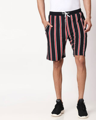 Shop Black-White-Imperial Red Vertical Stripe Shorts-Front