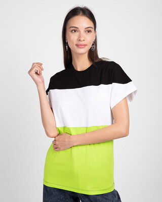 Shop Black-White-Neon Green 90's Vibe Boyfriend Panel T-Shirt-Front