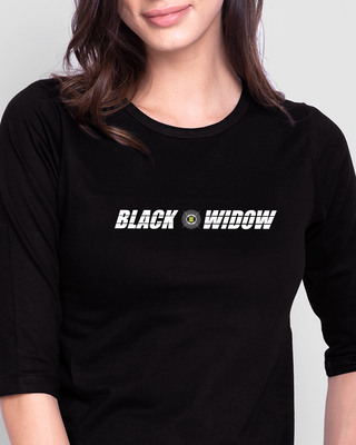 Shop Black Widow Round Neck 3/4 Sleeve T-Shirts (AVL)-Front