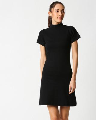 Shop Black Women High Neck Rib Dress-Front