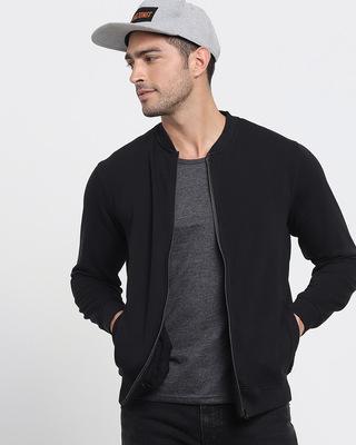 Shop Black Zipper Sweatshirt-Front
