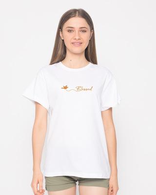 Shop Blessed Bird Boyfriend T-Shirt-Front