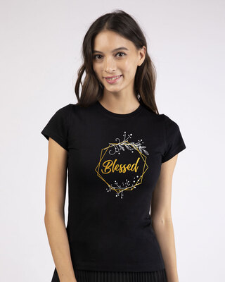 Shop Blessed Gold Half Sleeve T-Shirt (GOLD PRINT)-Front