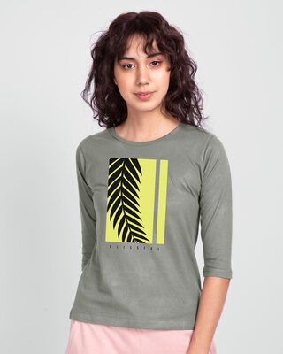 Shop Blissful Palm Tree Round Neck 3/4th Sleeve T-Shirt-Front
