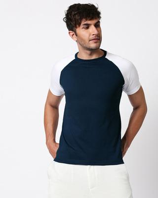 Shop Blue & White Half Sleeve Raglan T-Shirt-Front