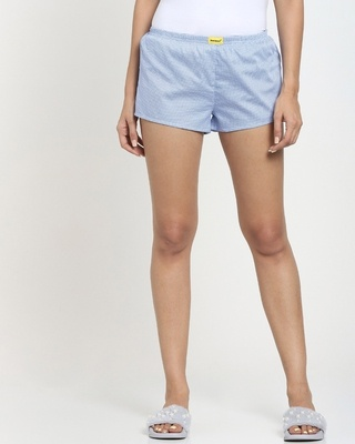 Shop Blue All Over Print Geometric Boxer-Front