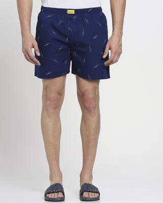 Shop Blue AOP Abstract Print Boxers-Front