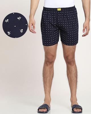 Shop Blue AOP Geometric Print D Boxers-Front