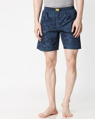 Shop Blue Camo Side Pocket Men's Boxers-Front