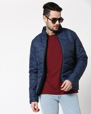 Shop Blue Chill Block Wave Puffer Jacket-Front